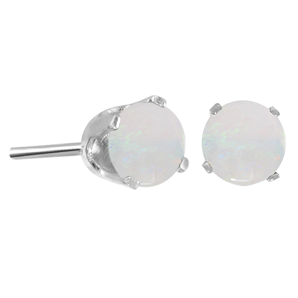 Round Opal Stud Earrings in 14K White Gold (0.40 ct)