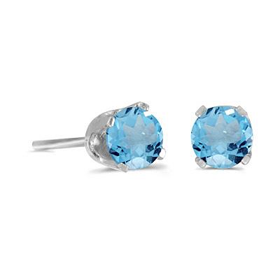1.12ct Blue Topaz Stud Earrings December Birthstone 14k White Gold