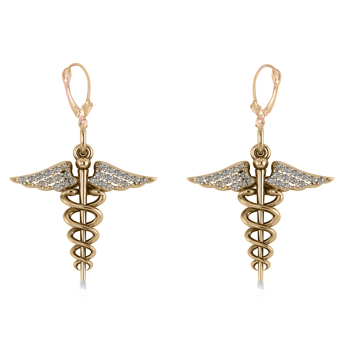 Diamond Caduceus Medical Symbol Dangle Earrings 14k Yellow Gold (0.26ct)