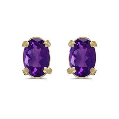 Oval Amethyst Studs February Birthstone Earrings 14k Yellow Gold (0.90ct)