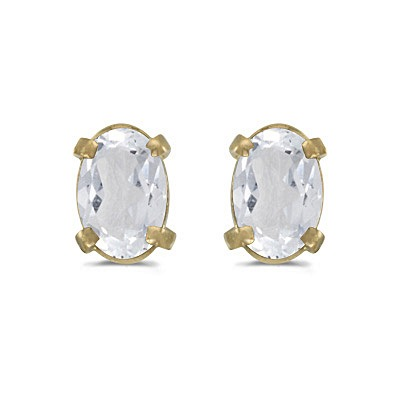Oval White Topaz Studs Birthstone Earrings 14k Yellow Gold (1.14ct)