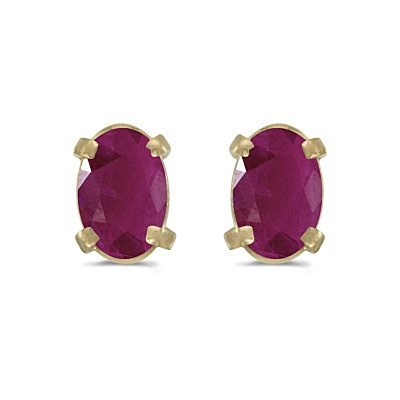 Oval Ruby Studs July Birthstone Earrings 14k Yellow Gold (1.20ct)