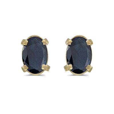 Oval Sapphire Stud Earrings in 14k Yellow Gold (1.20 cttw)