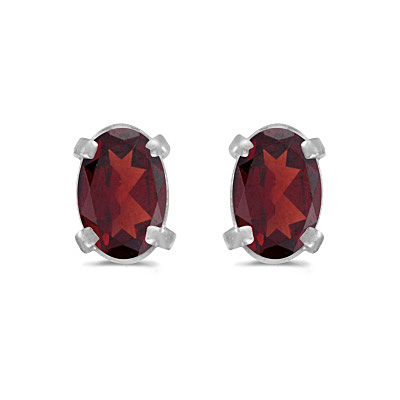 Oval Garnet Studs January Birthstone Earrings 14k White Gold (1.10ct)