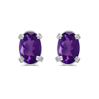 Oval Amethyst Studs February Birthstone Earrings 14k White Gold (0.90ct)