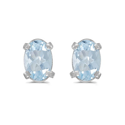 Oval Aquamarine Studs March Birthstone Earrings 14k White Gold (0.80ct)