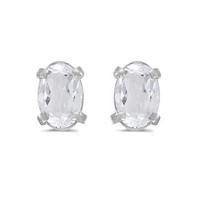 Oval White Topaz Studs Birthstone Earrings 14k White Gold (1.14ct)