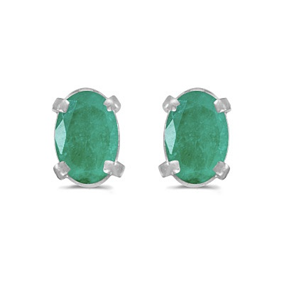 Oval Emerald Studs May Birthstone Earrings 14k White Gold (0.90ct)