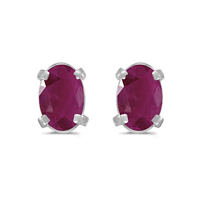 Oval Ruby Studs July Birthstone Earrings 14k White Gold (1.20ct)