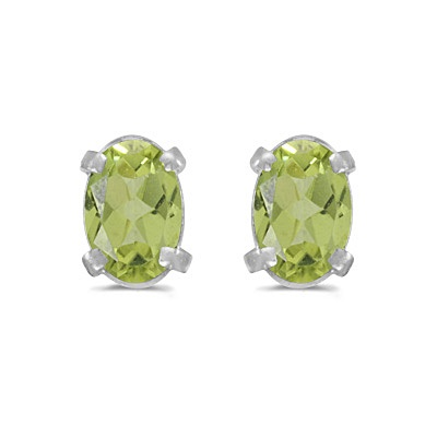 Oval Peridot Studs August Birthstone Earrings 14k White Gold (1.10ct)