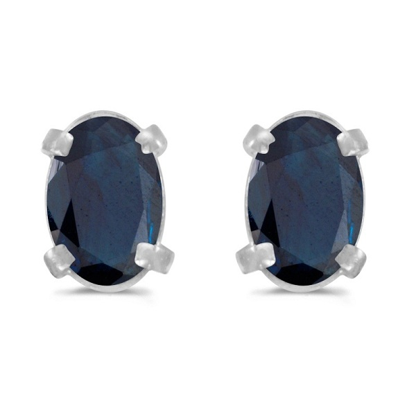 Oval Sapphire Stud Earrings in 14k White Gold (1.20 cttw)