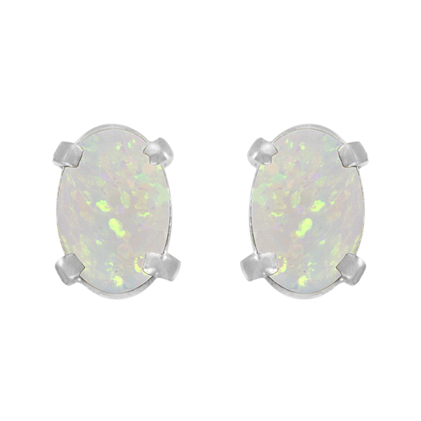 Oval-Shaped Opal Stud Earrings in 14K White Gold (0.54 ct)
