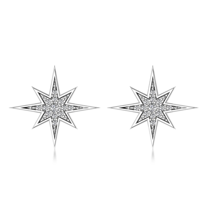 Diamond Adorned North Star Earrings 14k White Gold (0.16ct)