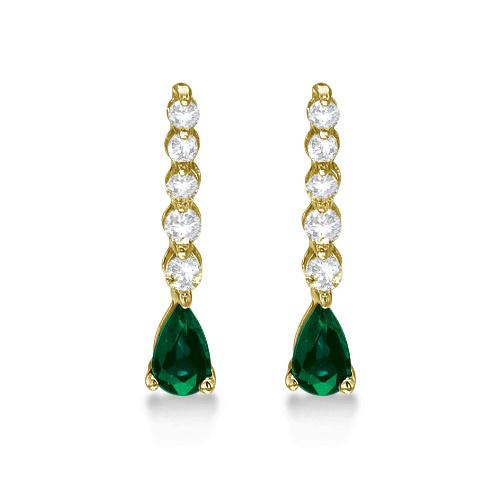 Pear Emerald & Diamond Graduated Drop Earrings 14k Yellow Gold (0.80ctw)