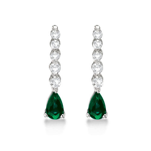 Pear Emerald & Diamond Graduated Drop Earrings 14k White Gold (0.80ctw)