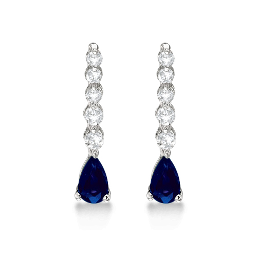 Pear Sapphire & Diamond Graduated Drop Earrings 14k White Gold (0.80ctw)
