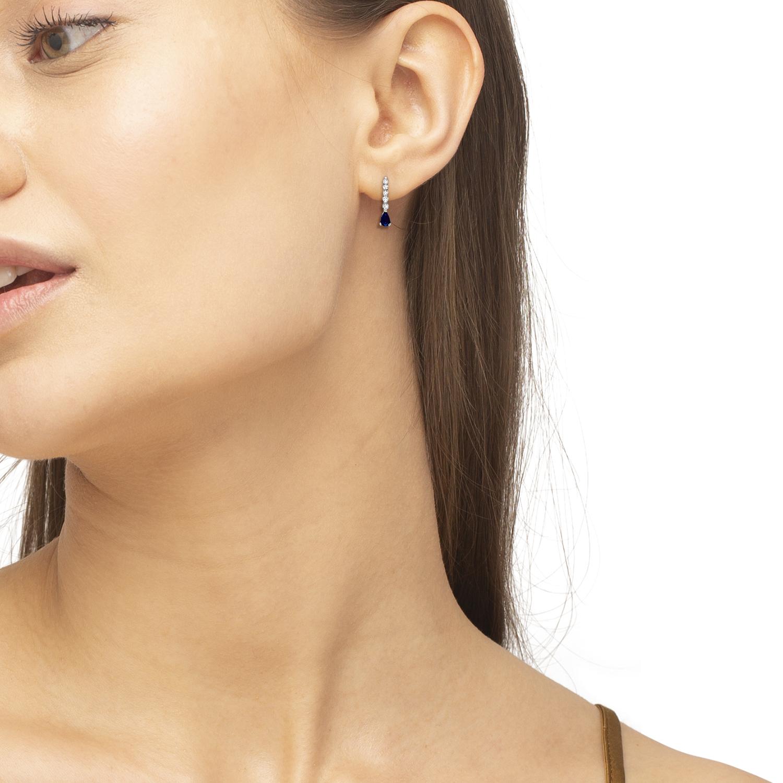 Pear Sapphire & Diamond Graduated Drop Earrings 14k White Gold (0.80ctw)