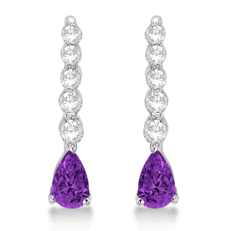 Pear Amethyst & Diamond Graduated Drop Earrings 14k White Gold (0.80ctw)