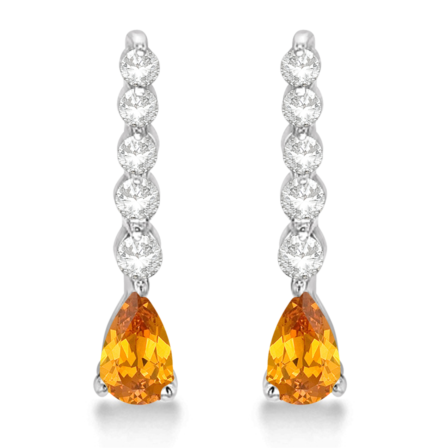 Pear Citrine & Diamond Graduated Drop Earrings 14k White Gold (0.80ctw)