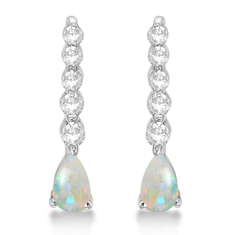 Pear Opal & Diamond Graduated Drop Earrings 14k White Gold (0.80ctw)