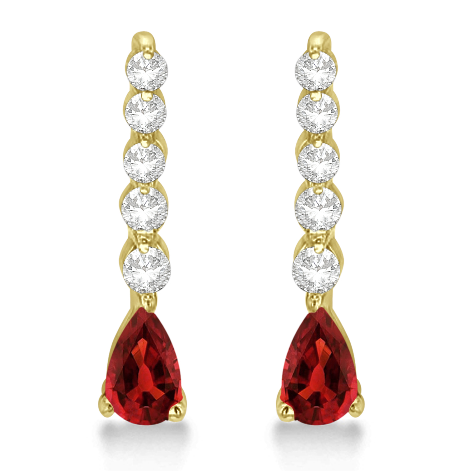 Pear Garnet & Diamond Graduated Drop Earrings 14k Yellow Gold (0.80ctw)