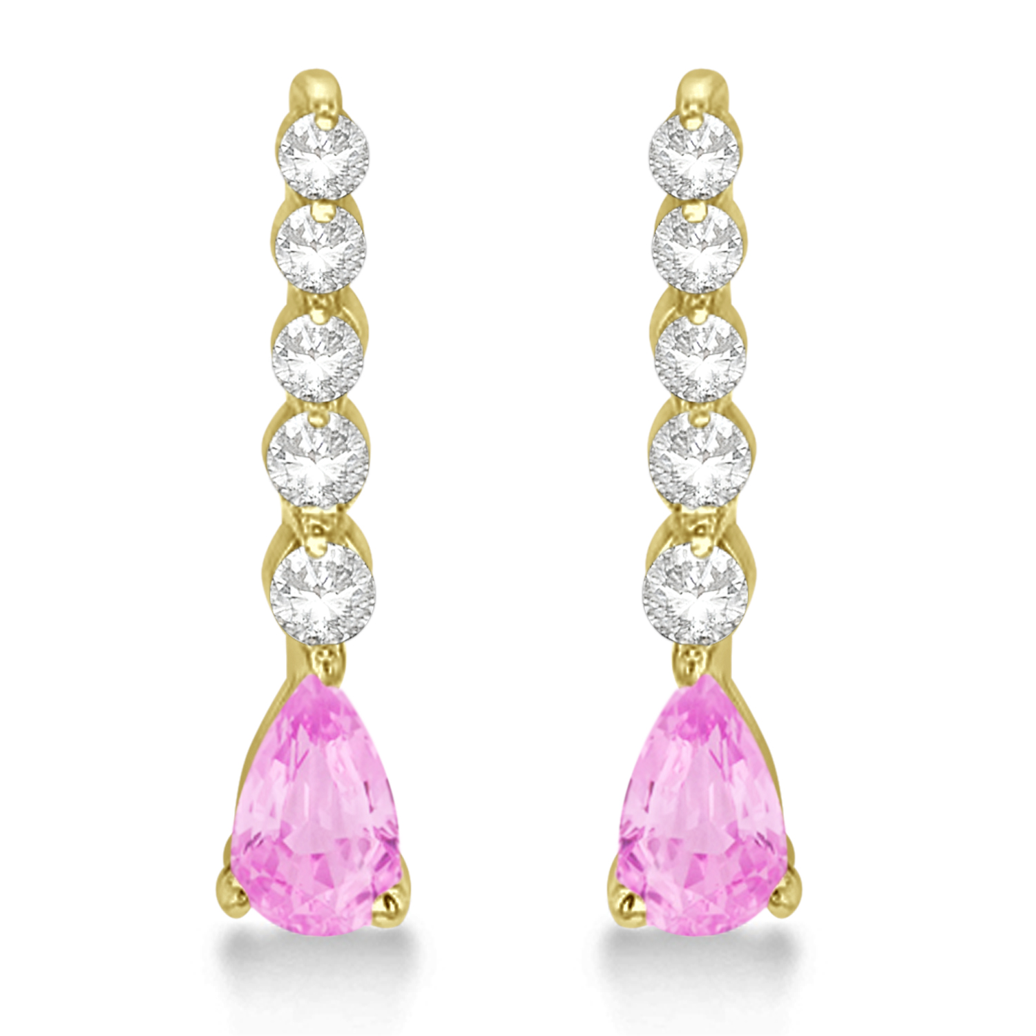 pear pink sapphire amp diamond graduated drop earrings 14k