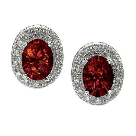 Oval Garnet and Diamond Earrings 14k White Gold (8x6mm)