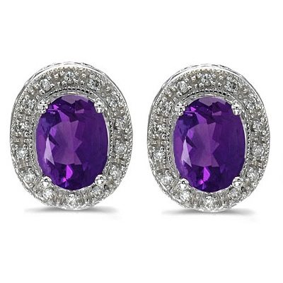 Oval Amethyst and Diamond Earrings 14k White Gold (8x6mm)