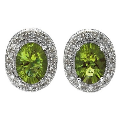 Oval Peridot and Diamond Earrings 14k White Gold (8x6mm)