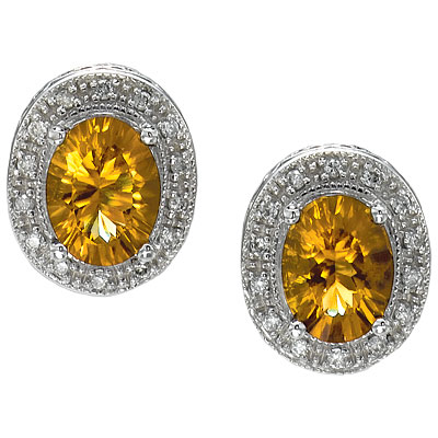 Oval Citrine and Diamond Earrings 14k White Gold (8x6mm)