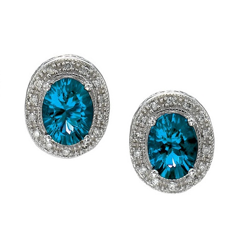 Oval Blue Topaz and Diamond Earrings 14k White Gold (8x6mm)