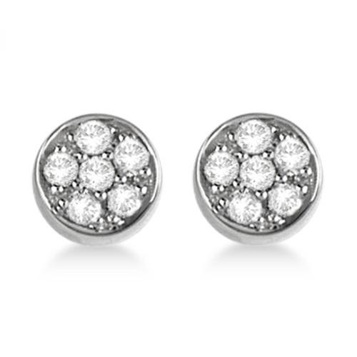 Diamond Cluster Bezel Stud Flower Earrings in 14k White Gold (0.35ct)