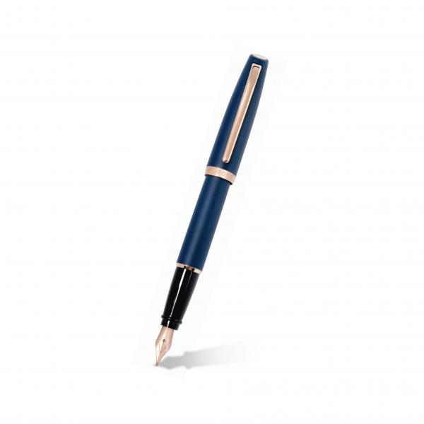 Aurora Style Blue Matte Fountain Pen w/ 14k Rose Gold Plated Trims