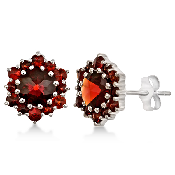 Round Cut Garnet Push Back Cluster Earrings in Sterling Silver (3.96ct)