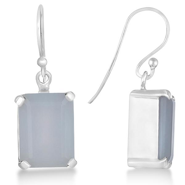 Emerald Cut Blue Chalcedony Drop Earrings Sterling Silver 13.50ct