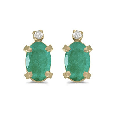 Oval Emerald and Diamond Studs Earrings 14k Yellow Gold (0.90ct)
