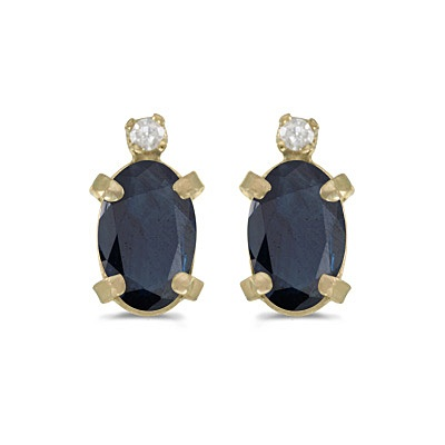 Oval Blue Sapphire and Diamond Studs Earrings 14k Yellow Gold (1.12ct)