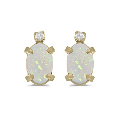 Oval Opal and Diamond Studs Earrings 14k Yellow Gold (1.12ct)