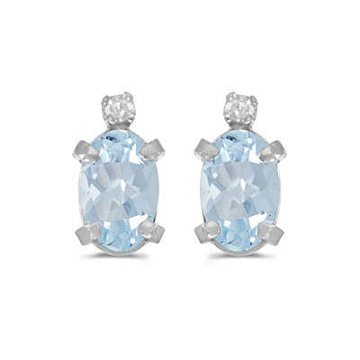 Oval Aquamarine and Diamond Studs Earrings 14k White Gold (0.80ct)