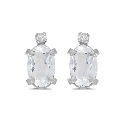 Oval White Topaz and Diamond Stud Earrings 14k White Gold (1.14ct)