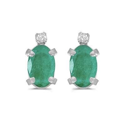 Oval Emerald and Diamond Studs Earrings 14k White Gold (0.90ct)
