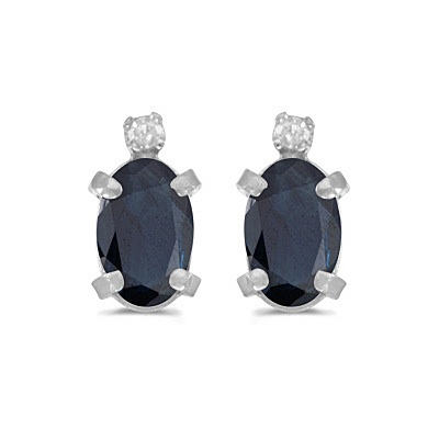 Oval Blue Sapphire and Diamond Studs Earrings 14k White Gold (1.12ct)