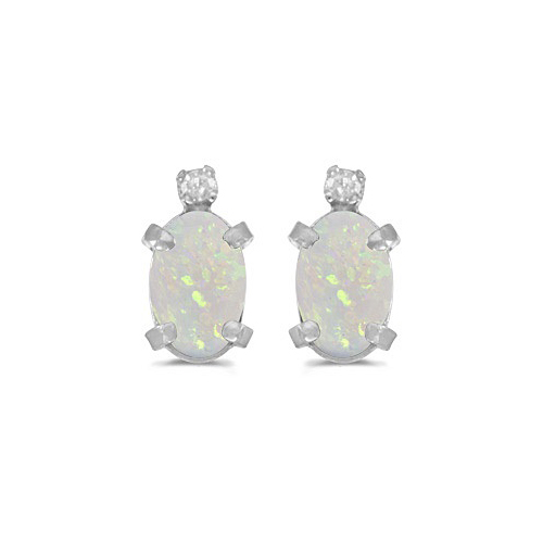 Oval Opal and Diamond Studs Earrings 14k White Gold (1.12ct)