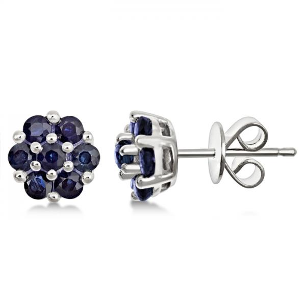 Flower Cluster Blue Sapphire Earrings Sterling Silver (1.26ct)