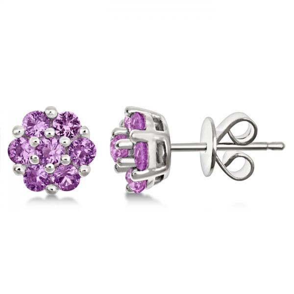 Flower Cluster Pink Sapphire Earrings Sterling Silver (1.26ct)