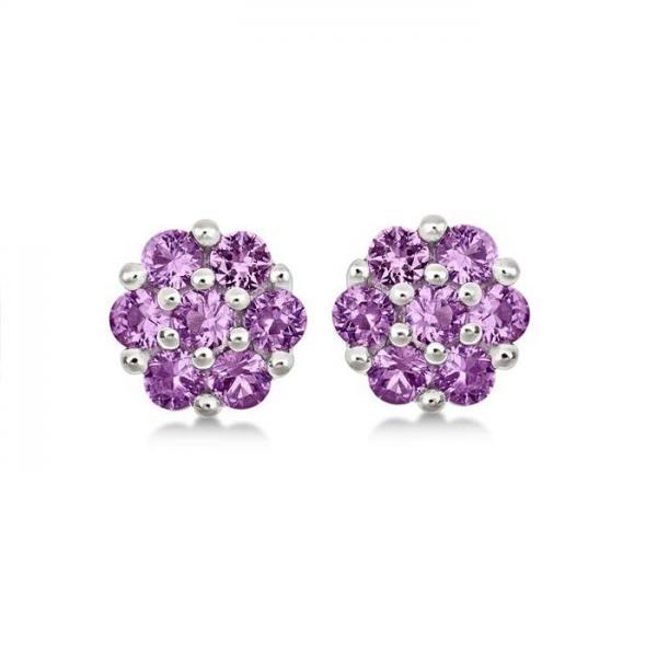Flower Cluster Pink Sapphire Earrings Sterling Silver (1.26ct)