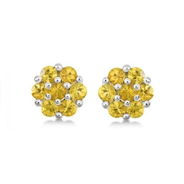 Flower Cluster Yellow Sapphire Earrings Sterling Silver (1.26ct)