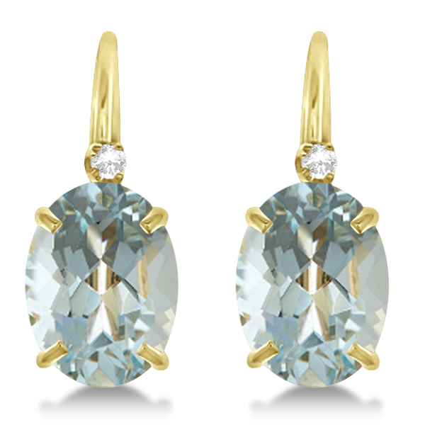 Aquamarine Drop Earrings with Accent Diamond 14K Yellow Gold 2.12ct
