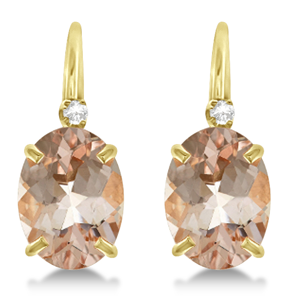 Morganite Drop Earrings with Accent Diamond 14K Yellow Gold 2.22ct