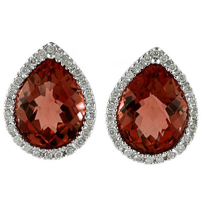 Pear Shaped Garnet and Diamond Earrings in 14k White Gold